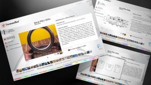 Tecnosellos - multimedia, pantalla de producto con fotos y planos técnicos.